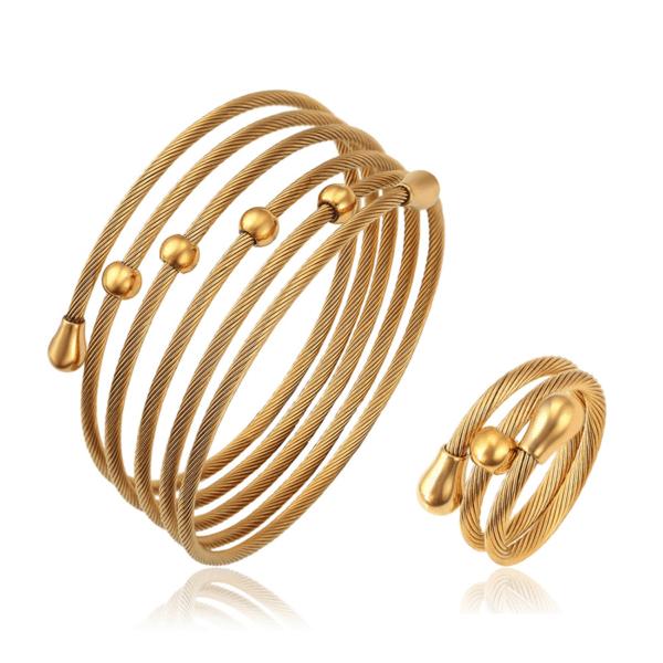 Lucie 24K Dubai Gold Plated Bangle+Ring Set